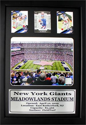 New York Giants Meadowlands Stadium with 3 Trading Cards on a 12X18 ...