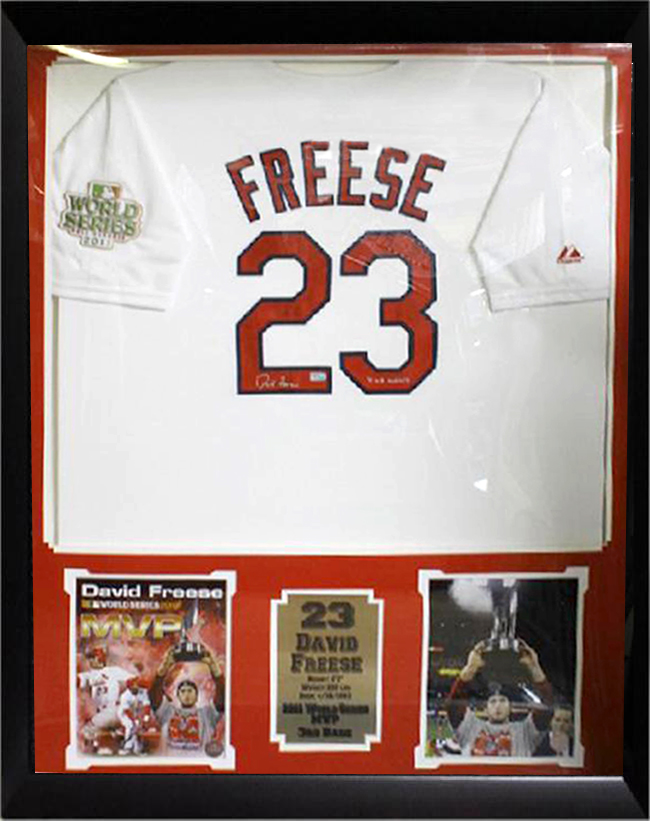 36x44 Autographed Jersey Frame - David Freese St  Louis