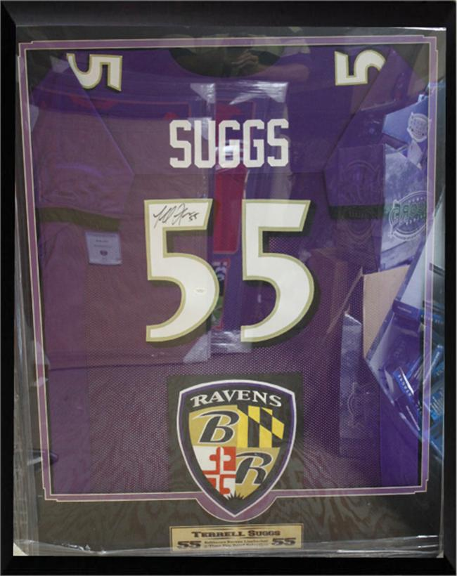 36x44 Autographed Jersey Frame - Terrell Suggs Baltimore Ravens