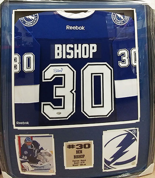 new style 1b85a 3b87d Ben Bishop Autographed Jersey on a 30X34 Deluxe Frame